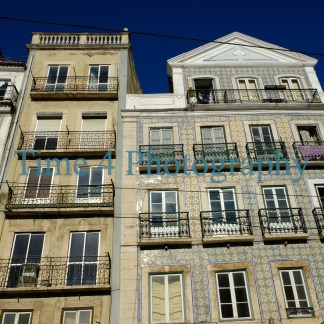 Old houses facades in Lisbon,as seen from the street