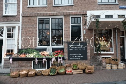 Groceries for sale on a table outside the store, in Amsterdam, Holland