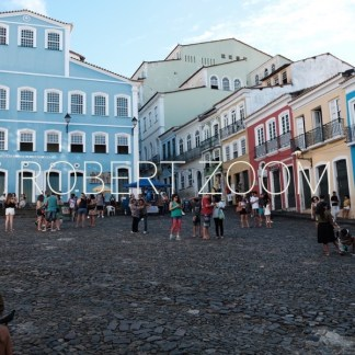 The Pelourinho area in Salvador da Bahia, Brasil, many people at the square showing old colonial houses
