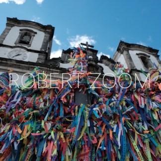 A view of the church Nosso Senhor do Bonfim, in Salvador da Bahia, Brasil, and the famous wish ribbons with the same name
