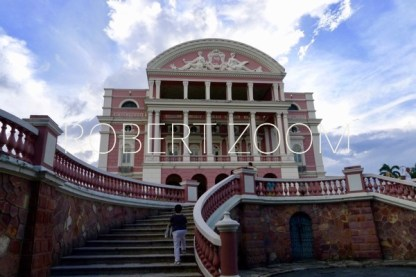 The famous Amazon Theatre in Manaus, Brazil,in the heart of the brazilian Rainforest. Facade and wide stairs on the foreground.