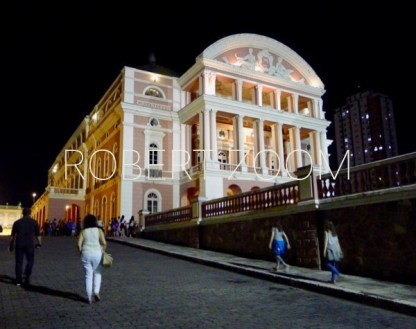 The Amazon Theatre at night in Manaus, Brasil, at the heart of the Amazon Rainforest