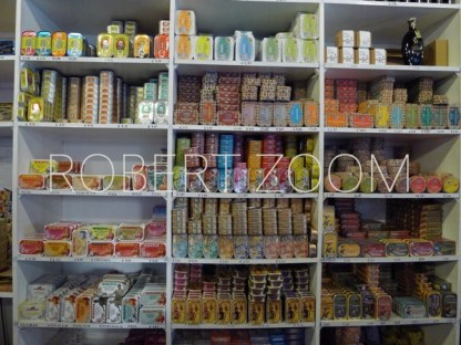 This picture shows shelves full of sardine cans in a specialized shop in Lisbon, Portugal. There are many such shops in Portugal.