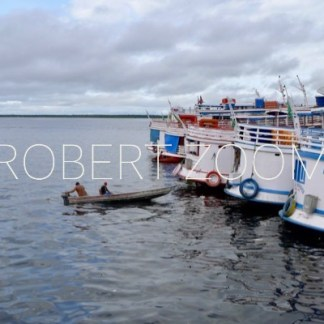 Several passenger boats are anchored at the port of Manaus in Amazon, Brasil