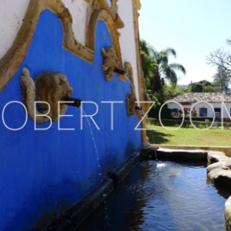 A blue water fountain in the city of Tiradentes, Brasil, and in the background some palm trees and a house