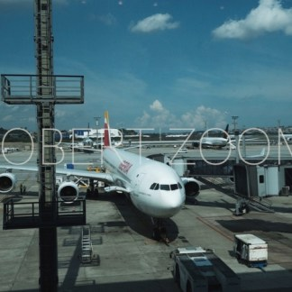 A big Iberia airplane is parked on the airport tarmac in Sao Paulo, Brazil, waiting for the last caterer before taking of.