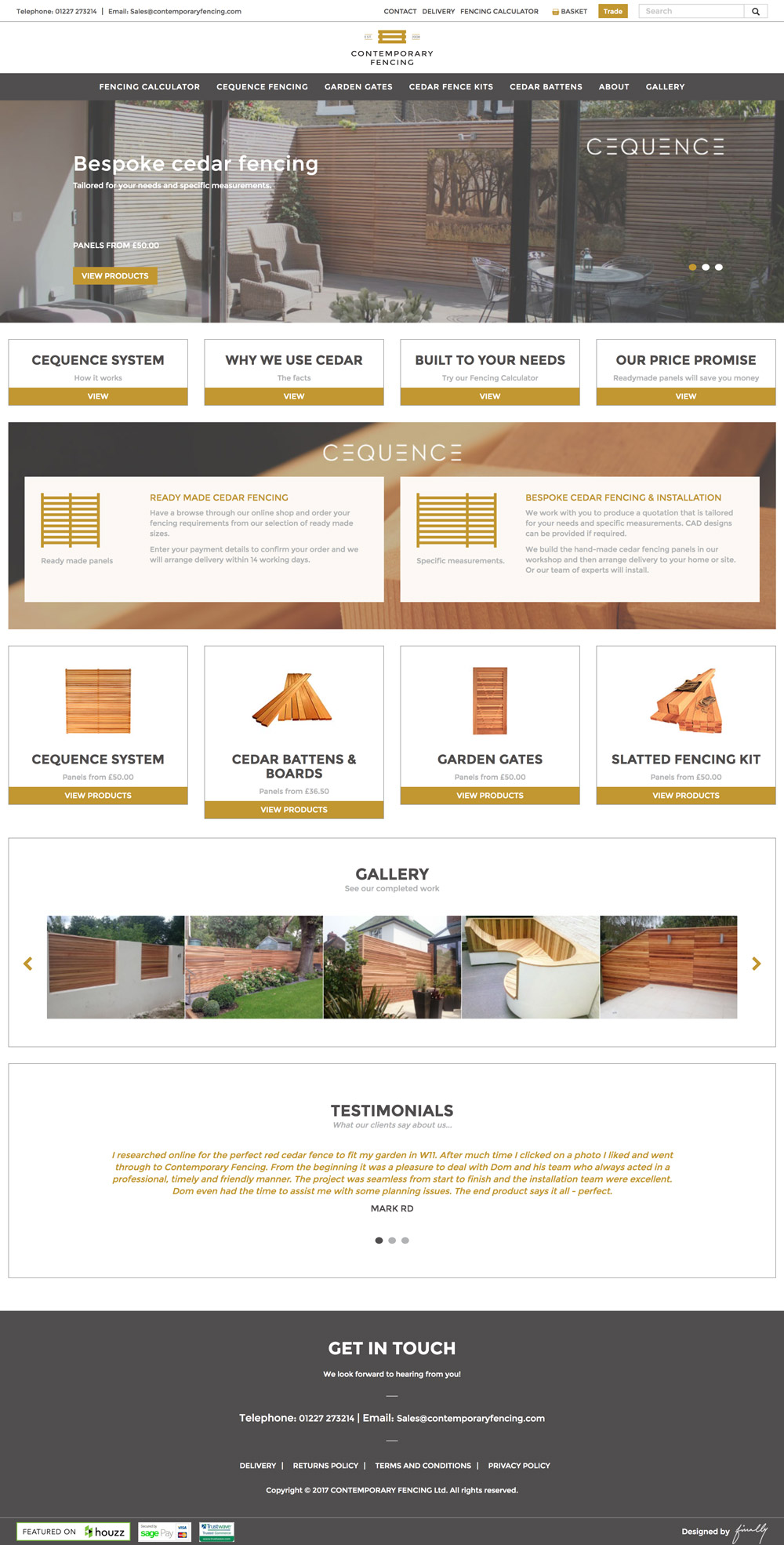 Contemporary Fencing website home page