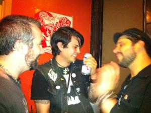 Marginally drunk photo of Chris Trumpower, myself, and Erik after a gig in Portland in 2013