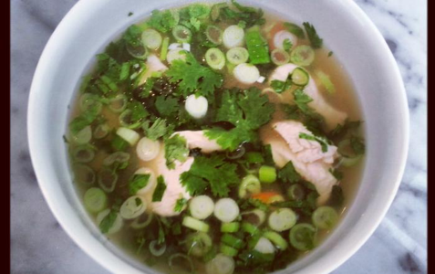 Shredded chicken and lemongrass broth