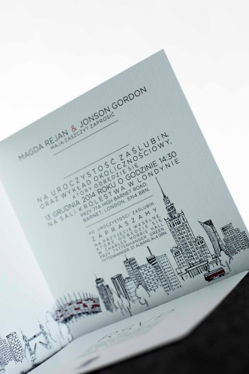 Zaproszenia ślubne z motywem miasta Warszawy