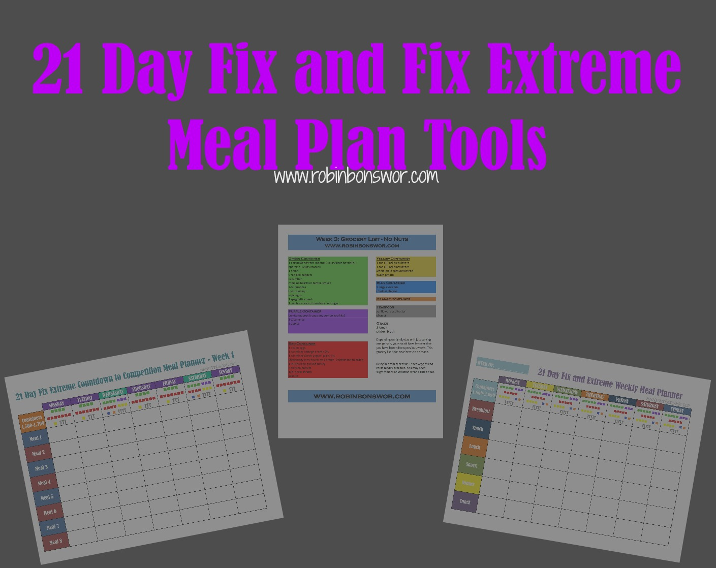 21 Day Fix Meal Plan Tools