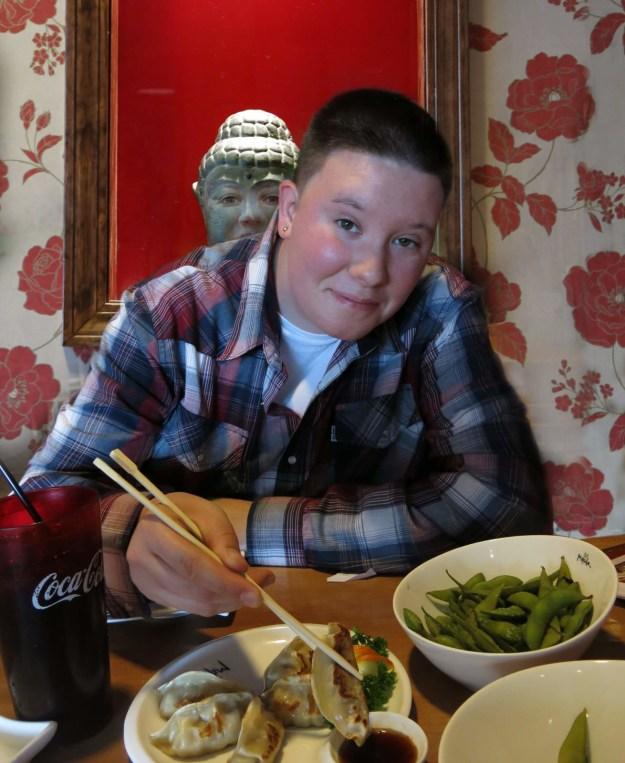 Ray Possen and Robin botie have birthday sushi at Mitsuba Restaurant in Ithaca, NY to celebrate the life of Marika Warden