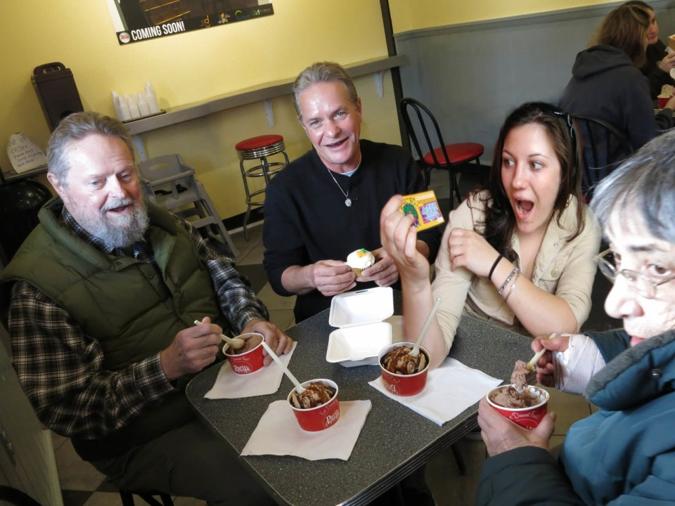 Robin Botie of Ithaca, New York, photoshops her deceased daughter, Marika Warden, eating ice cream at Purity Ice Cream Shop.