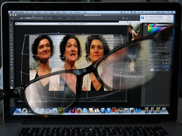 Progressive Memory Loss - Using progressive eyeglasses, Robin botie of Ithaca, New York, photoshops multiple images of storyteller Regi Carpenter who suffered memory losses before her decent into mental illness.