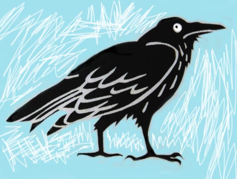 Robin Botie of Ithaca, New York, Photoshops the raven design she made for Silk Oak, an Ithaca-based design studio