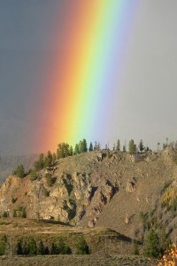 Yellow for Courage rainbow - Robin Botie of ithaca, New York, photographs a rainbow at Arapaho Recreation Area