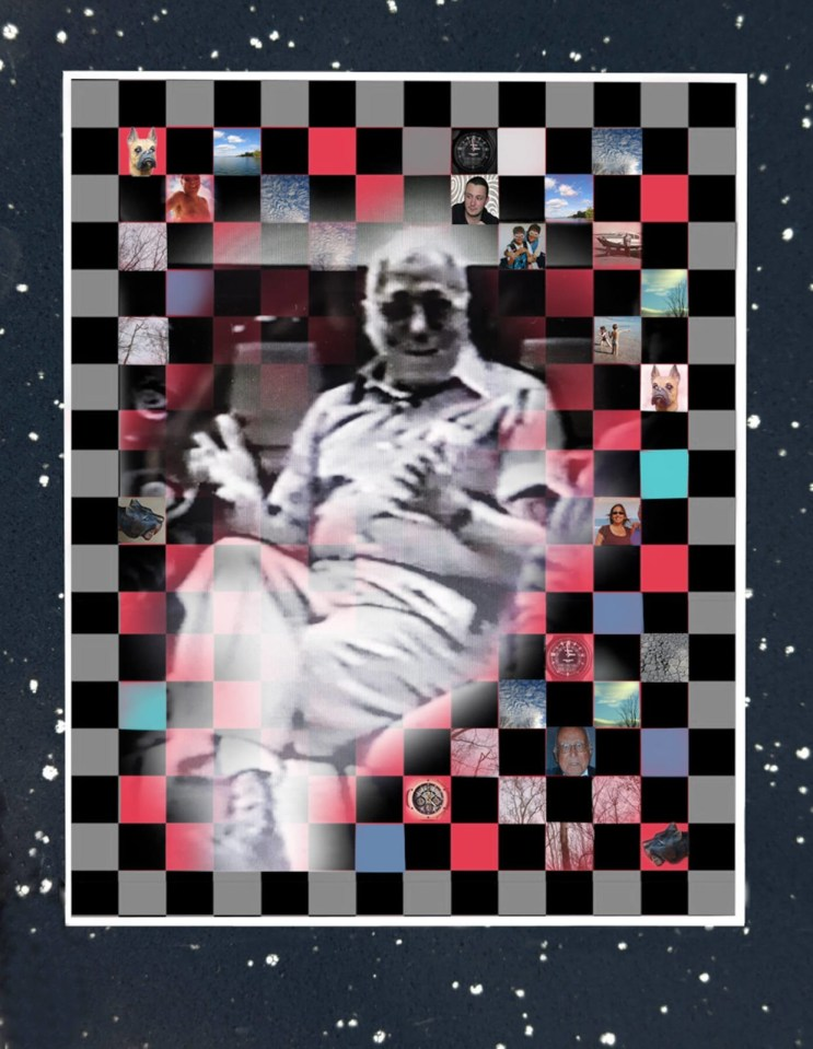 Robin Botie of Ithaca, New York, photoshops an image of her deceased father from an old VHS videotaped recording converted to DVD.