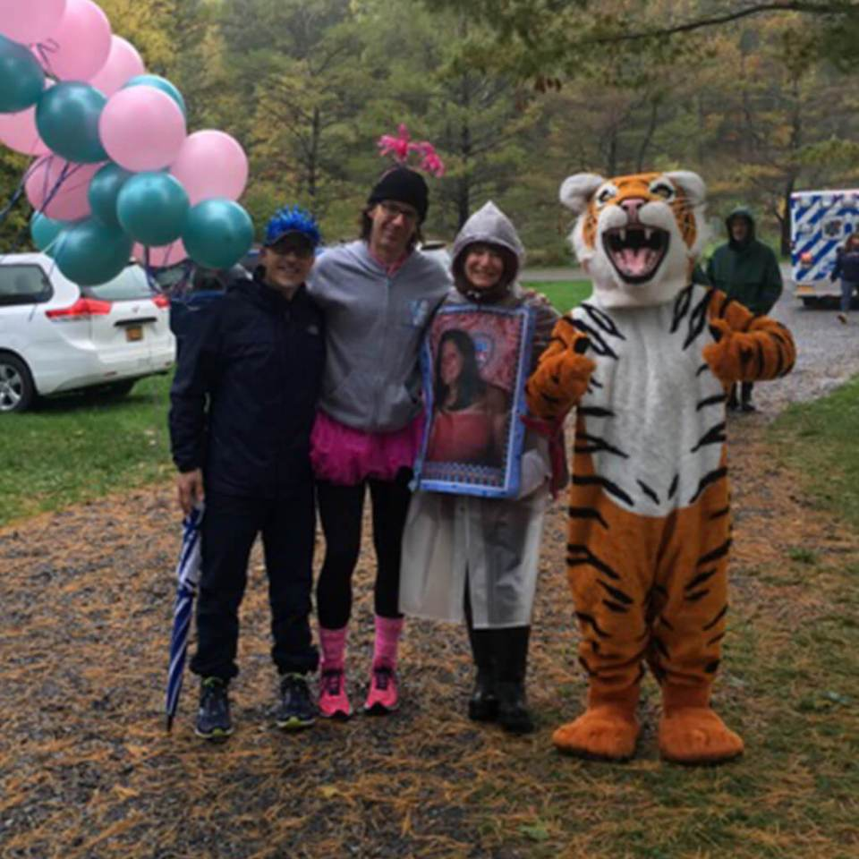 Robin Botie of Ithaca, New York, posing with friendly folks at the 2016 Annual Walkathon for the Cancer Resource Center of the Finger Lakes.