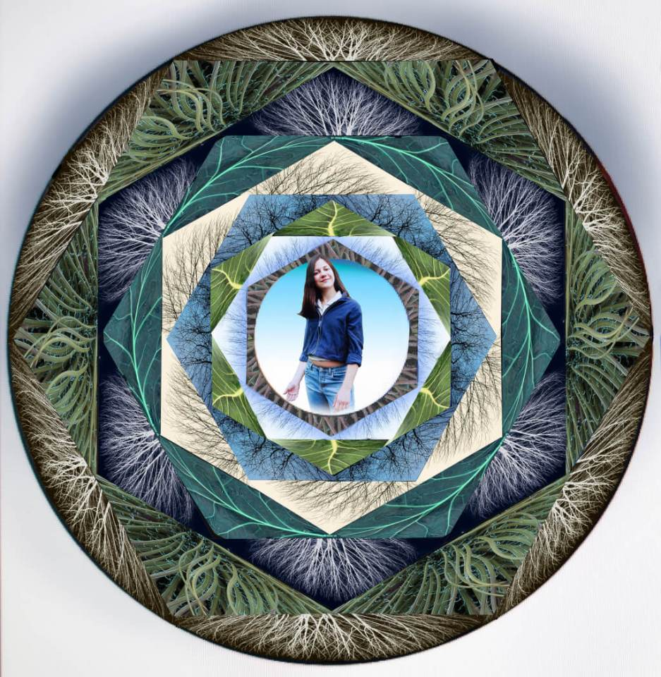 Robin Botie of Ithaca, New York, photoshops a healing mandala with images of bare trees and her daughter who died of leukemia.