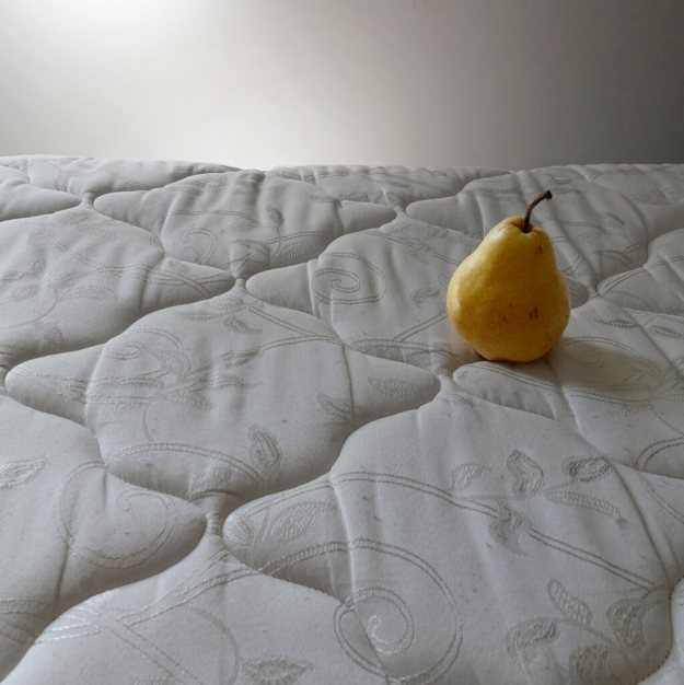 Robin Botie of Ithaca, New York, photographs a perfectly ripe pear on a mattress when her grown son moves out of the house.