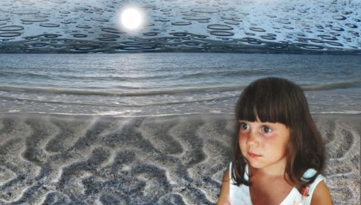 Marika Warden as a young on a moonlit beach, photoshopped by Robin Botie of Ithaca, New York