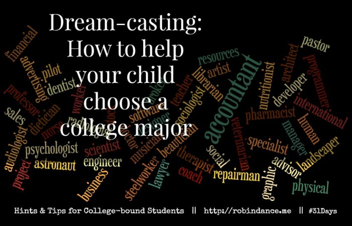 Dreamcasting - How to help your child choose a college major