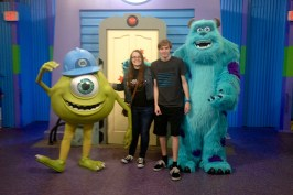 Mike Wazowski and James P. Sullivan were out for a character meet and greet.