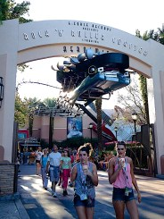 The entrance to Rock 'N' Roller Coaster foreshadows how the ride will go.