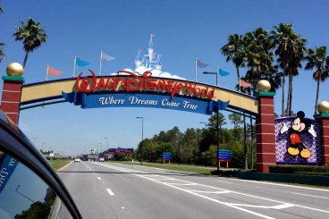 Heading under the Walt Disney World sign is always exciting!