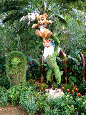 Sandwiched between China and Germany is the African Outpost. While it isn't officially a country pavilion (they have Animal Kingdom, after all) it is themed. The Flower and Garden Festival was present here … with a Rafiki and Simba topiary.
