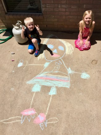 Kids with sidewalk chalk