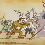 Robin Hood and Little John escape from Nottingham castle with a golden arrow