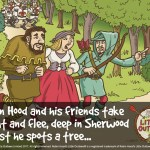 """Illustration of Robin Hood, Maid Marian and Little John, from Robin Hood's Little Outlaws' first children's picture book, """"Robin Hood, who's he?"""""""