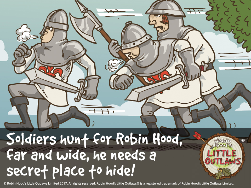 """Illustration of the Sheriff of Nottingham and King John's soldiers hunting for Robin Hood, from Robin Hood's Little Outlaws' first children's picture book, """"Robin Hood, who's he?"""""""
