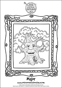 Major the oak tree character colouring in sheet