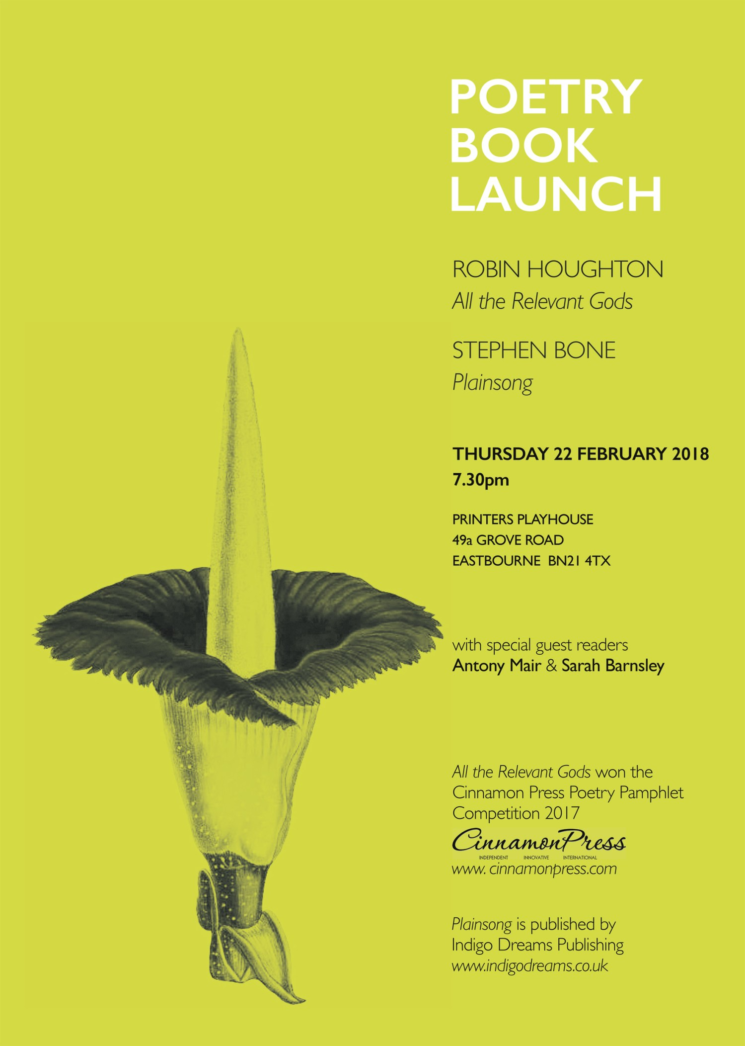 Poetry book launch flyer