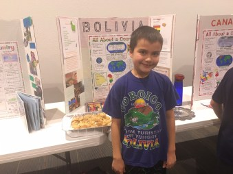 Isaac presented his World's Fair project on Bolivia, the day we left for our trip! Busy day!