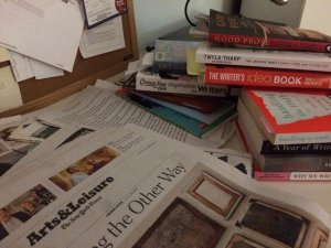Books and Newspapers on Table