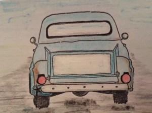 vintage truck drawing blue