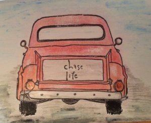 vintage truck drawing red