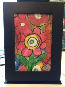 acrylics, watercolors, ink framed spring flowers