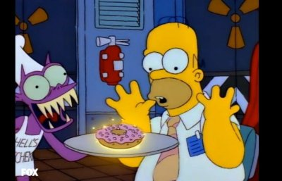 Homer Simpson looks at a donut as it glows