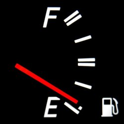 gasoline tank reading in car