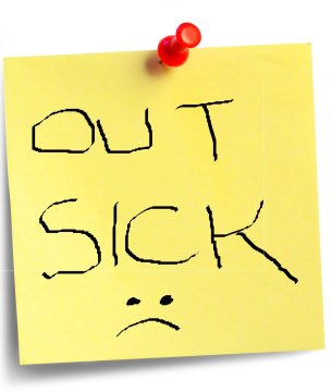 sticky note: out sick