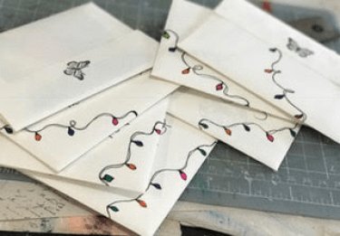 Envelopes with festive drawings for the holidays