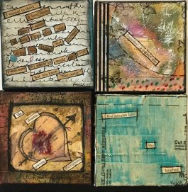 S4 Shelf Stories: Short Stories for Small Spaces... 4x4 canvases with words surrounded by beautiful colors