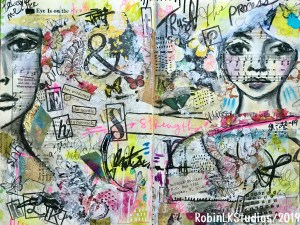 altered book journal with mixed media by RobinLK Studios
