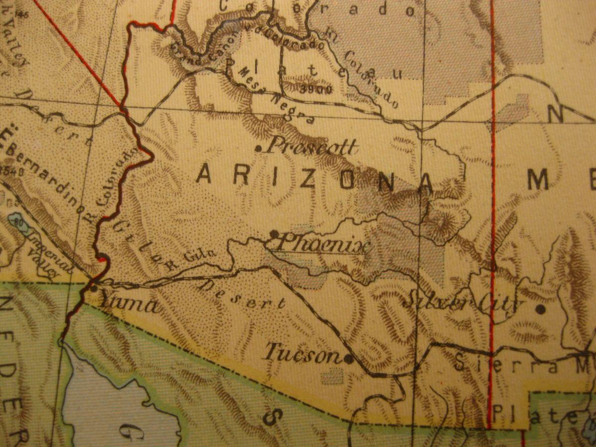 1929 VINTAGE MAP ARIZONA