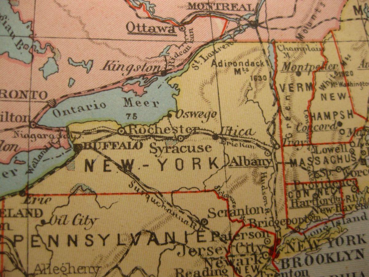 1929 VINTAGE MAP NEW YORK