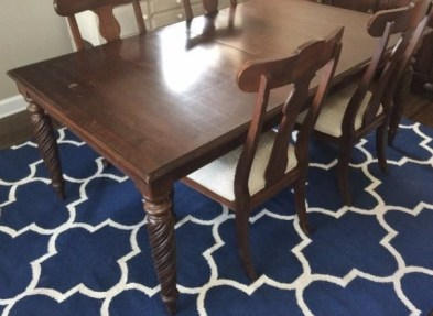 This Ethan Allen table features carved barley twist legs and the size is just perfect for the dining area at The Shack.